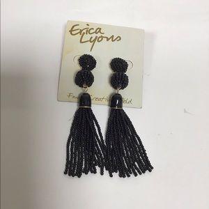 Erica Lyons Beaded Dangle Earrings Black New